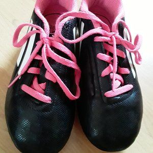 Girls Adidas soccer cleats pink black size 1